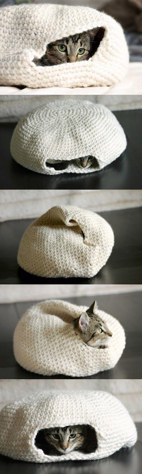 "Crocheted kitty ""thingy."""