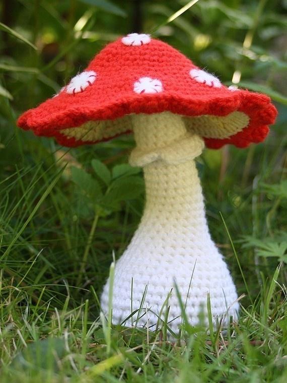 Crocheted toadstool mushroom.
