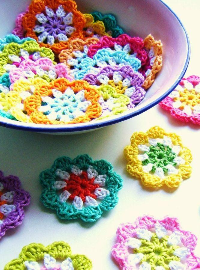 Crocheted mini flower garden.